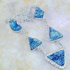 """TITANIUM DRUZY STERLING SILVER NECKLACE 21 1/2"""" FREE SHIPPING"""