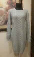 H&M womens size large sweater dress light gray cable knit wool long sleeves