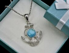 Larimar Anchor Necklace. UNISEX  .925 Sterling Sliver AAA Quality.