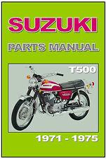 SUZUKI Parts Manual T500 1971 1972 1973 1974 1975 Replacement Spares Catalog