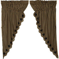 "Black Star Prairie Curtain Set by VHC Brands - 63"" x 36"" Lined Curtain Set"