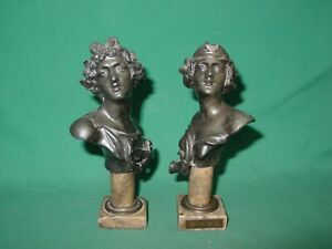 Antique Busts 2 Miniature Spelter Apollo Diana Marble Pedestal Base