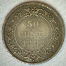 1882 H Canada Newfoundland 50 Cents Silver Coin Very Good VG 50c