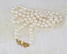 Mikimoto Pearl Necklace - High Quality Pearl Strand - 18k Yellow Gold Clasp