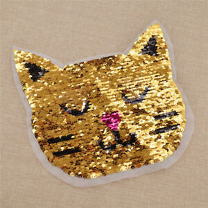 1x Reversible Sequins Cat Paches DIY Clothes Sewing on Decoration Accessory