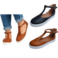 Women Summer Retro Shoes Buckle Round Toe Platform Flat Heel Buckle Casual Shoes