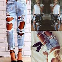 Women Destroyed Ripped Distressed Slim Denim Pants Lady Boyfriend Jeans Trousers