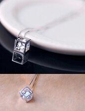 Women Fashion Jewelry 925 silver Plated Cubic Zirconia Gem Pendant Chain Love EW