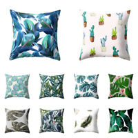 Tropical Plant leaves Floral Pillow Case Waist Cushion Cover Home Decor Eyeful