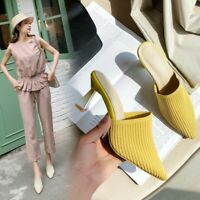 Women's Pointed Toe Knitted High Heels Pumps Fashion Mules Sandals Casual Shoes