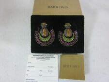 Heidi Daus Green Purple Multicolored Earrings Clip On