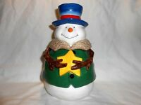 New w/Tag St Nicholas Square Button Up Pattern Snowman Cookie Jar Christmas w2s6
