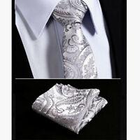 Luxury Mens Tie Gray Silver Black Paisley Floral Grey Silk Wedding FREE Hanky 16