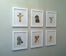 Pottery Barn Wood Picture Frame White w/ Animal Print Shop Nursery Art Set of 6
