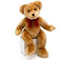 "ADORABLE BURTON & BURTON 14"" SEBASTIAN LIGHT BROWN TEDDY BEAR W/RED RIBBON, NEW"