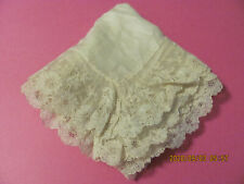 """Antique Ladies Scarf Embroidered Net Lace Trim 26"""" Table Topper Doll Project S12"""