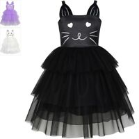Sunny Fashion Girls Dress Cat Face Black Tower Ruffle Dancing Party Size 4-10