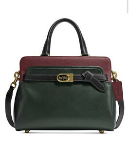 ❤️Coach Tate C5316 Carryall 29 Amazon Green In Colorblocked Leather