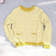 Anthropologie Charlie & Robin Stripe Open Back Sweater - Size Small Yellow Cream