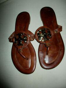 Women's Tory Burch Miller Metal Logo Sandal Shoe Brown Leather Sz 7.5