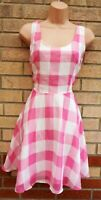BRIGHT & BEAUTIFUL PINK WHITE GINGHAM FLIPPY SKATER SUMMER TEA A LINE DRESS 10 S