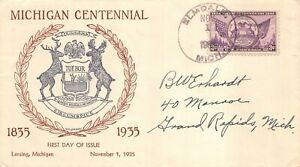 775 3c Michigan, W.M. Grandy cachet in purple and brown (text) [061121.118]