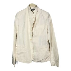 New Vince Women Linen Business Blazer Jacket Suit Size 8 Beige Button Modern