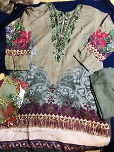 Winters Shalwar Kameez Khaddar with Linen Dupatta Stitched XL Uk Size