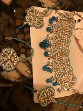 New Indian Bollywood Style Silver Plated Necklace Set Multi Color Party Jewelry