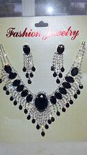 Black Diamante Rhinestone Crystal Necklace & Earrings Set Wedding Prom