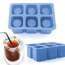 6-Cavity Square Ice Cube Tray Silicone Glass Pop Mold Maker Drink Mixing Shooter