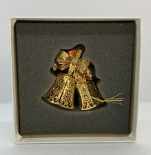 """The Danbury Mint 2002 """"Holiday Bells"""" Annual Gold Christmas Ornament 23kt"""