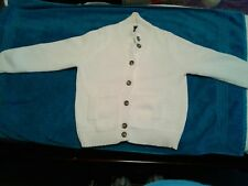 LANDS' END WOMEN'S/LADIES WHITE BUTTON FRONT SWEATER