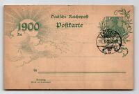 Germany 1900 Germania Postal Card / New Years Day Cancel - Z13309