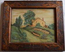 """G. Welday pyrography painting & frame, amazing folk art """"The Old Homestead"""""""