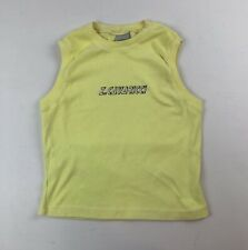 Vtg 80s 90s Z.Cavaricci Yellow Spell Out Slvless Cotton Knit Top Sz L Runs Small