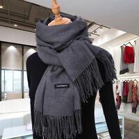 New Fashion Men's Winter Warm Gray 100% Cashmere Pashmina Long Soft Neck Scarf