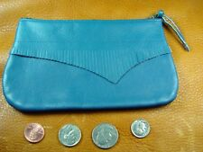 Blue Cowhide Leather coinpurse pouch USA hand crafted disabled veteran 5037