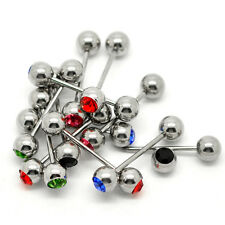 5x Mixed Logo Ball Tongue Bars Rings Barbell Piercing Stainless Steel Liau