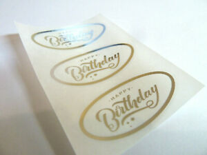 Happy Birthday Stickers Silver on Clear Labels Cards Envelopes Craft HBSFOIL1