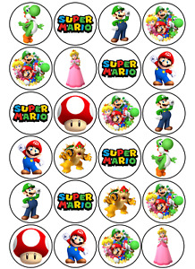 24 x Super Mario Edible Cupcake Toppers Wafer Icing Decorations Video Game Theme