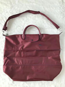 Longchamp Le Pliage Club Expandable Travel Bag with Shoulder - Wine Red XXL