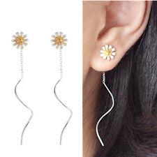 925 Sterling Silver Sun Flower Daisy Pull Through Wave Threader Dangle Earrings