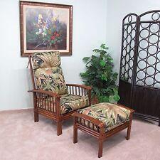 Brooks Rattan Hi-Back Chair and Ottoman (Walnut finish) Cushions Made in USA