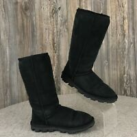 UGG Australia Boots Women's 6 Black Tall Suede Leather Winter Fleece Lined #5845