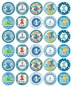 30x 1st Birthday Boy Blue Cupcake Toppers Edible Wafer Paper Fairy Cake Toppers