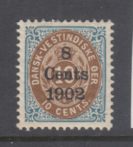 Danish West Indies Sc 28a Surcharge 8 Cents on 10c Blue&Brown VF/XF Mint Hinged
