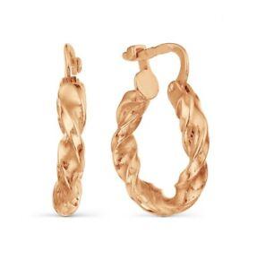 14 Karat 585 Russian Genuine Rose Gold Hoop Earrings Women Kids