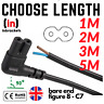 Bare Ends C7  PIN Figure of 8 Power Cable lead Right Angle 90° Connector Angled
