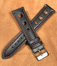 Leather Strap Vintage Large Holes Black Red Watch Band Fits Rolex Quick Release